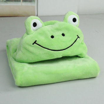 2016 New Free Shipping Green Frog Shape Bath Towel For Baby Kids Comfortable Blanket Swaddle For Baby gTRQ0005