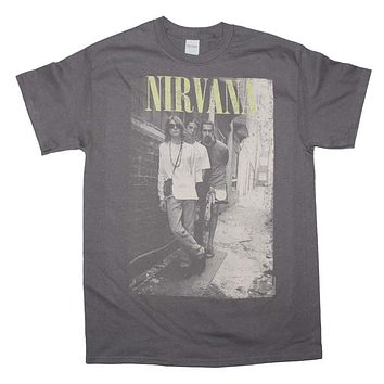 Nirvana Brick Wall Alley Photo T-Shirt