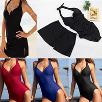 Sexy Lady Beach Dress Ruched Women Bodysuit One Pieces Halter Swimwear Women Swimsuit Bathing Suit Moda Praia Feminina = 1946082628
