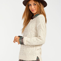 Full Tilt Womens Cable Knit Step Hem Sweater Oatmeal  In Sizes
