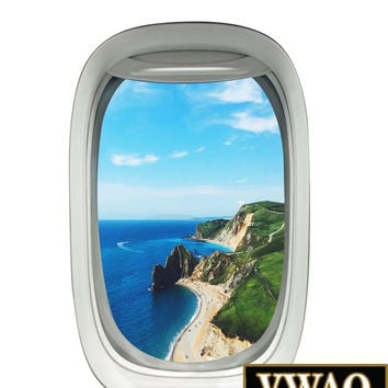 Airplane Window Beach Scene Wall Decal Peel and Stick Mural Aviation Decor PW1