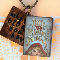 "What Big Eyes You Have metal stamped necklace-Little Red Riding Hood-antique bronze-book-18"" Beaded Ball Chain"