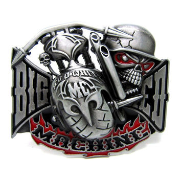 Newest Big Red Machine Belt Buckle Motorcycle Biker Cool Metal Belt Buckle Suitable For 4cm Width Belt Drop shipping
