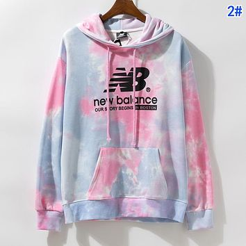New Balance Autumn Winter Women Men Tie-Dye Hoodie Cute Sweater Sweatshirt 2#
