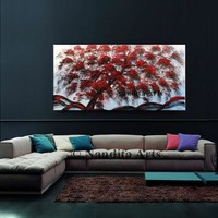 """Tree Wall Art Painting Red Abstract Landscape Art 48"""" Large Artwork Luxury Style Canvas Modern Art by Nandita Albright"""