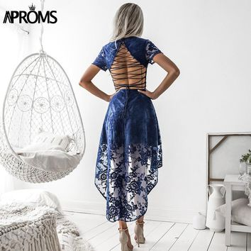Aproms Sexy Back Lace Up White Dress Elegant Lace Mesh Crochet High Low Party Dresses Summer Short Sleeve Midi Dress New 2018