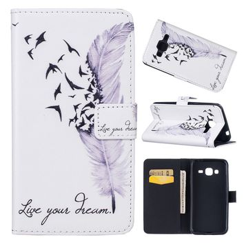 2018 New Christmas Xmas New Year Gifts 3D Fashion Quill Pen Leather Wallet Case Card Holder Cover Magnetic Clasp Cover For Samsu