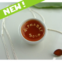 Polymer clay and resin Alphabet Soup Necklace