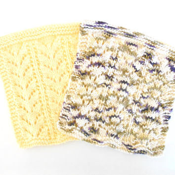 Set of Two, Hand Knit Dishcloths - Knit Cotton Washcloth - Housewarming Gift - Hand Knit Cotton Dish Rag - Hostess Gift - Knit Cotton Napkin