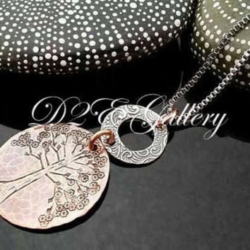 D2E hand stamped mixed metal artisan  necklace Tree of life