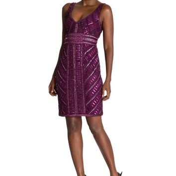 Theia - 882104 Sequined Sleeveless Mesh Cocktail Dress