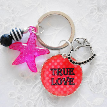 accessory for girls and teens - Love Keychain  , Star Accessory , Heart Accessory , Kids Accessory , Girls Keychain, Children Accessory