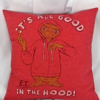 Movie bedding made from an E.T. The Extra-Terrestrial movie tshirt.
