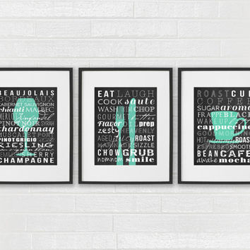 Kitchen Signs - Coffee Wine Fork Knife Art Prints - Dining Room Subway Art - Kitchen Prints - Wine Glass Coffee Cup Wall Art - Set of 3 Art