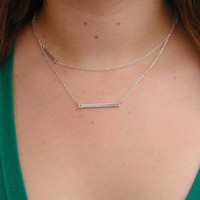 Layering Necklace Set - Delicate Silver Layer Necklaces - Monogram Necklace - Rectangle Necklace - Cross Necklace - Bar Necklace