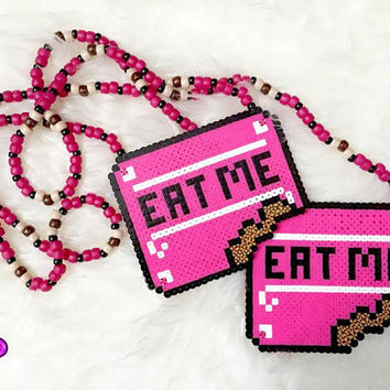 "2 Alice In Wonderland Inspired ""eat me"" Kandi Perler Necklace Set Of 2 Rave Kandi Necklaces Perler And Pony Bead Made Necklaces"