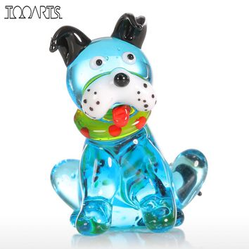 Tooarts Glass Animal Mini Dog Figurine Home Decor Modern Blue Squatting Dog Statuettes Home Decoration Accessories for Gift