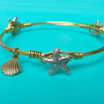 Ships Free! Starfish Wire Wrapped Gold Bangle Bracelet (Inspired by the Popular Bourbon and Bowties) - Great gift for bridesmaids, birthdays