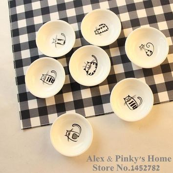 ICIK272 1pc Japanese Dishes  Saucer Snack Tray Fruit Tray Cartoon Plates Serving Tray