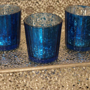 Set of 10 MERCURY GLASS BLUE Cobalt Navy Dark Blue Speckled Glass Candle Holders Votive Holder Candleholder Tea Light Vase Hanukkah Wedding