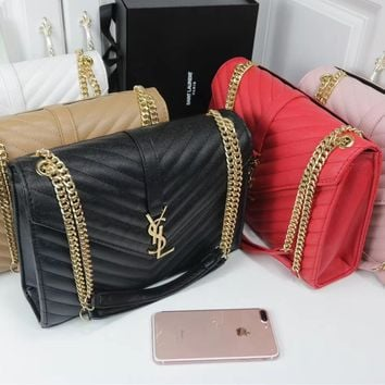 """YSL"" Fashion All-match Personality Metal Chain Single Shoulder Messenger Bag Women Solid Color Flip Small Square Bag"