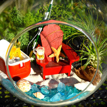 "Fishing Beach Terrarium Kit ~ Cooler, ice and drinks ~ Adirondack Chair ~ Airplants ~ 7"" Glass Globe ~ Beach ~ Gift ~ Miniature Fishing Pole"