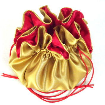 Wedding Bag Satin Bridal Money Purse Gold and Red No Pockets
