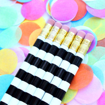 Black and White Stripe Pencils, Set of 6 Pencils, Personalized Pencils, Custom Pencils, Engraved Pencils, office supplies, Stocking Stuffer