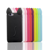 Cartoon 3D koko cute Ear Cat Case covers For Apple IPhone 4 4s  Ear soft silicone phone Case ASJK0212