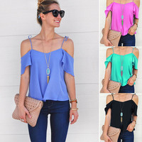 USA Fashion Women Summer Loose Casual Short Sleeve Chiffon Shirt Blouse Tops New
