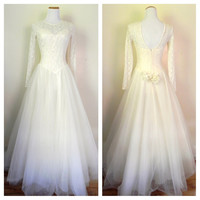 Vintage 1980's Lillie Rubin White Gown / Formal White Gown / Wedding Dress / Size 8