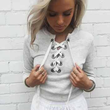 Chic lace up sweatshirt warm hoodies