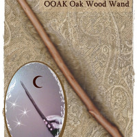 "Wand Witch Pagan Wizard Witch Wicca Oak Wood ""Lune Noire"" OOAK"