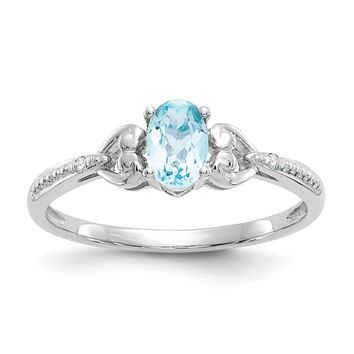 10k White Gold Oval Genuine Light Swiss Blue Topaz Diamond Hearts Ring