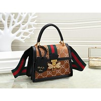 GUCCI Autumn Winter New Trending Women Stylish Velvet Leather Bee Shoulder Bag Crossbody Satchel Brown