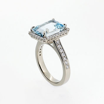 Emerald cut Aquamarine halo engagement ring, white gold, diamond engagement, light blue, custom, aquamarine halo ring, unique engagement