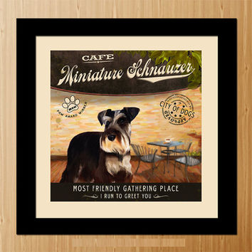 Miniature Schnauzer Dog Art Poster - Coffee Shop - Kitchen, Dinning Room, Unique Pet Art - D01-068-10X10