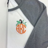 Three quarter Sleeve Raglan Tee Monogram HALLOWEEN  PUMPKIN DESIGN