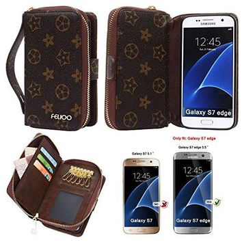 Galaxy S7 Edge Case, GX-LV Luxury Floral Parttern Zipper Split Leather 2 in1 Wallet Case Cover Handbag with Card Slots,Keychain for Samsung Galaxy S7 Edge,Brown