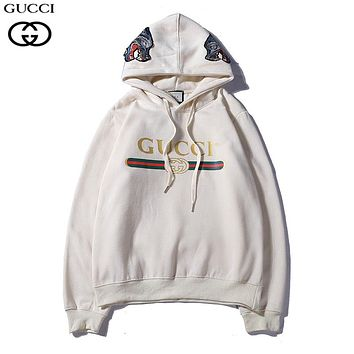GUCCI Woman Men Fashion Embroidery Top Sweater Pullover Hoodie