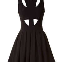 Black Cutout Skater Cocktail Summer Dress