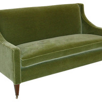 "George Smith, Georgian 60"" Velvet Sofa, Green, Sofas & Loveseats"
