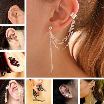 ES10009 Stud Earrings For Women Feather Tassel Cat Star Spider Brincos Ear Cuff Fashion Jewelry 2018