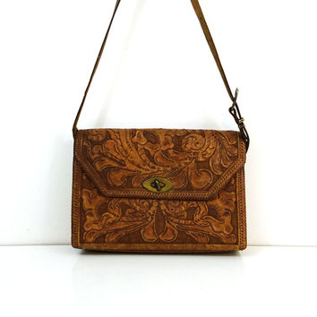 1960s hand tooled leather purse with shoulder strap