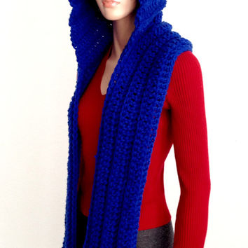 Royal Blue Crochet Scoodie. Blue Hooded Scarf. Chunky Hooded Winter Scarf. Free US shipping