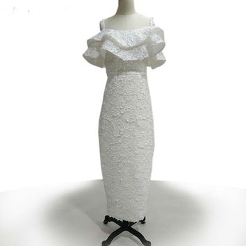 Flower Lace Dress Long Sheath Spaghetti Strap Formal Evening Party Gown