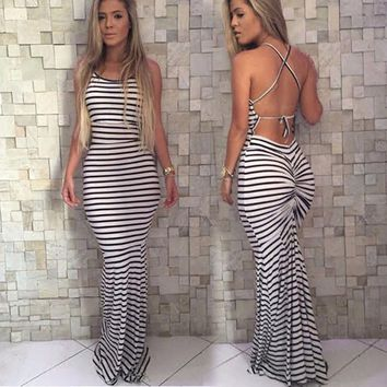 Hot fashion summer sleeveless sexy bandage bodycon long dress backless striped pleated long maxi dress