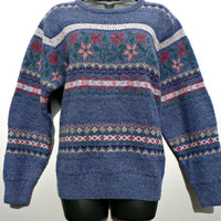 Brooks Brothers 100% Wool Fair Isle Sweater - Blue w/ Red, Pink Flowers - Crewneck Pullover - Women's Medium (M)