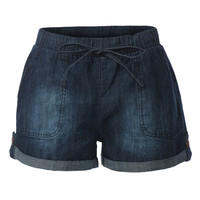 LE3NO Womens Cuffed Drawstring Waist Denim Shorts with Pockets (CLEARANCE)