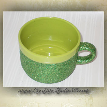 Green with Green - 22oz GLITTER COFFEE MUGS, coffee mug, cute coffee cups, girly coffee cup